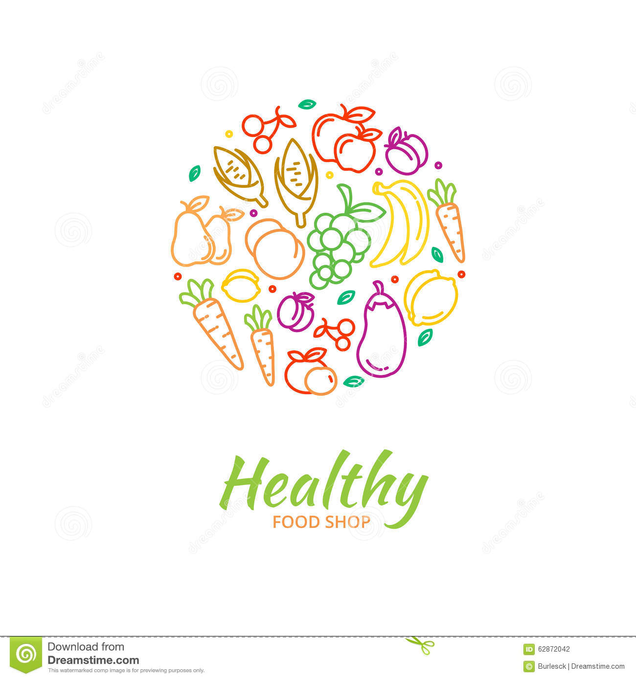 Healthy food store logo fruit and vegetable icons. Cherry and grape ...