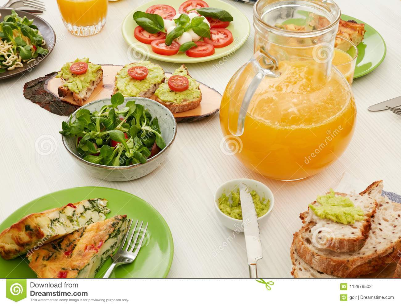 Healthy food on table