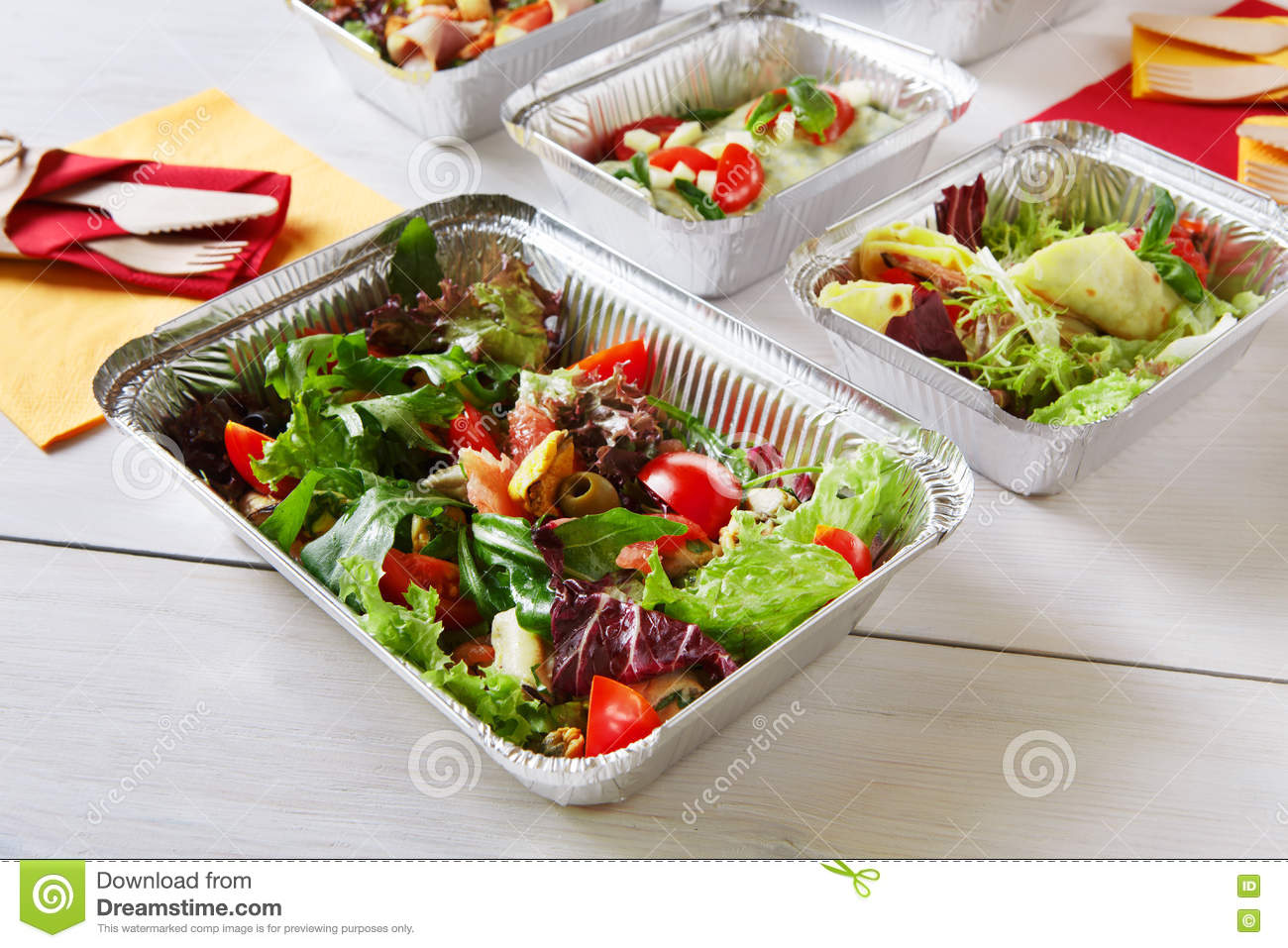 Healthy Food Take Away In Boxes Eating Right Stock Photo Image Of