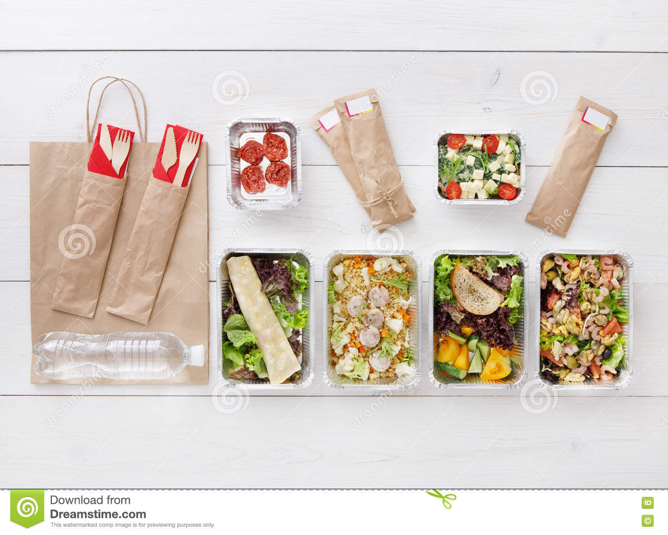 Healthy Food Take Away In Boxes Top View At Wood Stock Image