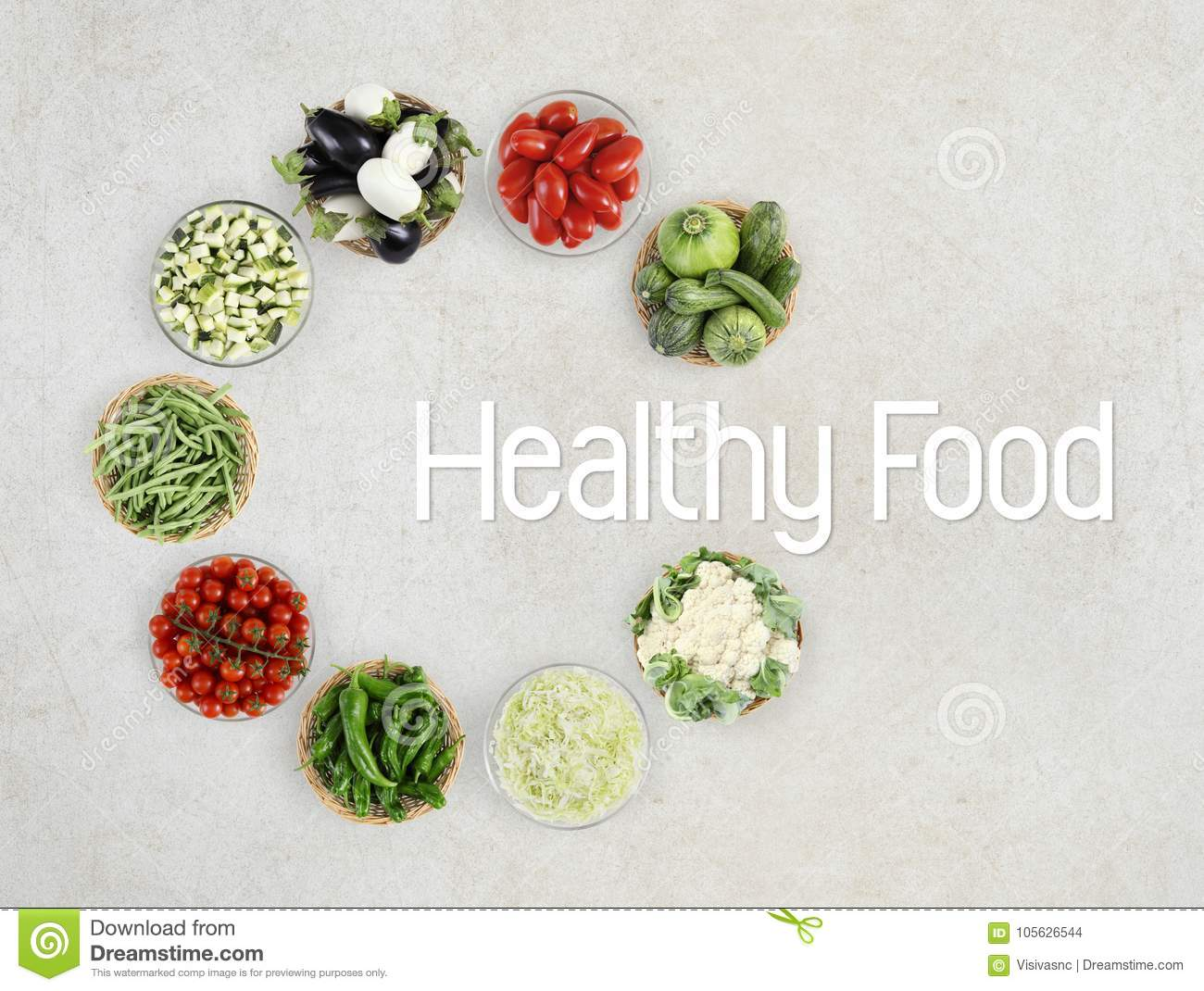 Healthy Food Text Top View Vegetables On Marble Kitchen Stock Photo