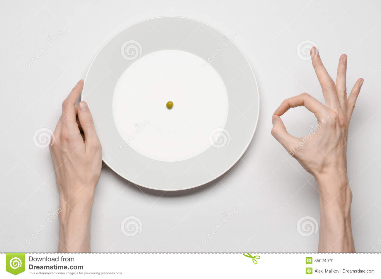 Healthy Food Theme Hands Holding Knife And Fork On A