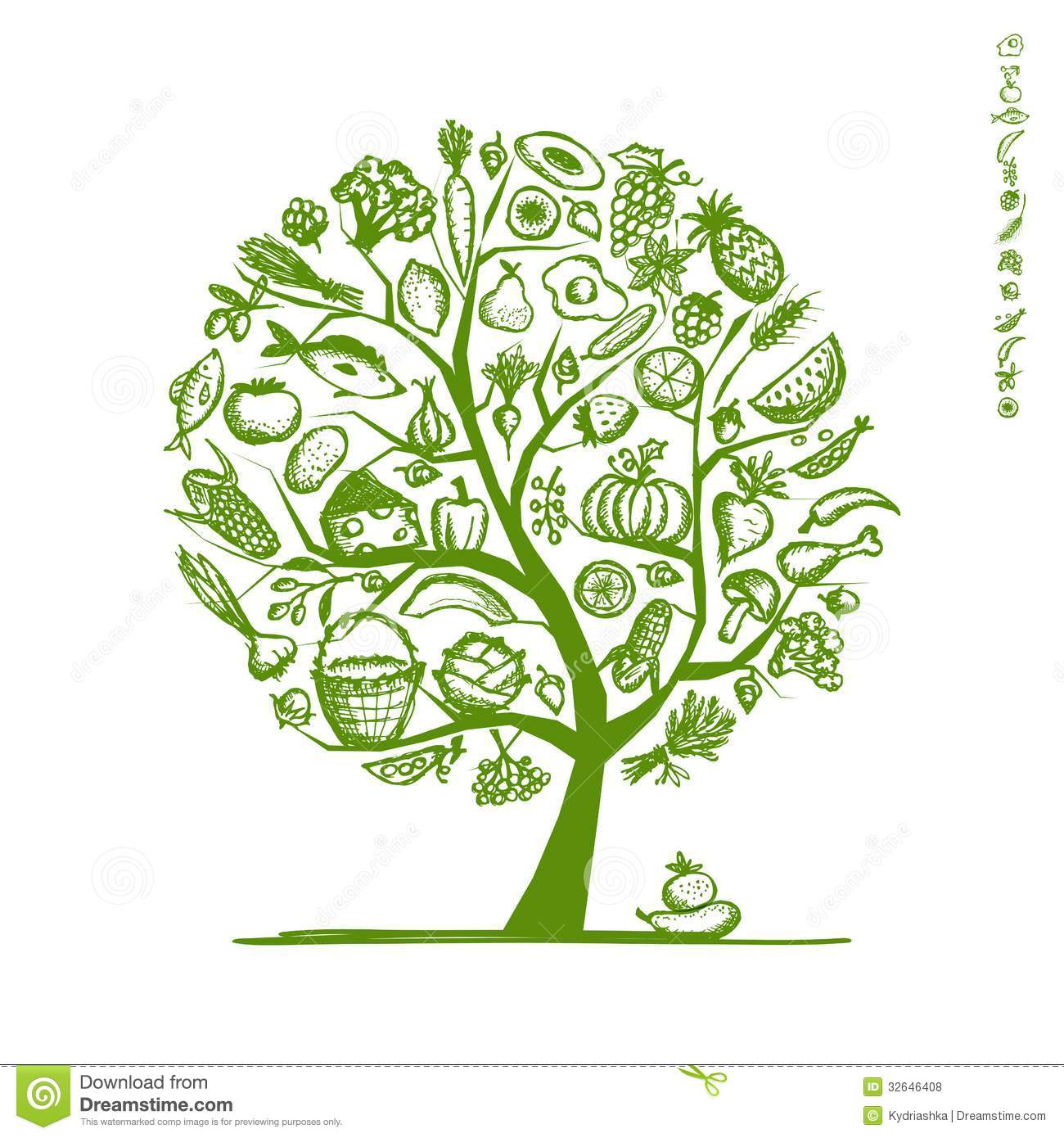 Healthy Food Tree, Sketch For Your Design Stock Vector ...