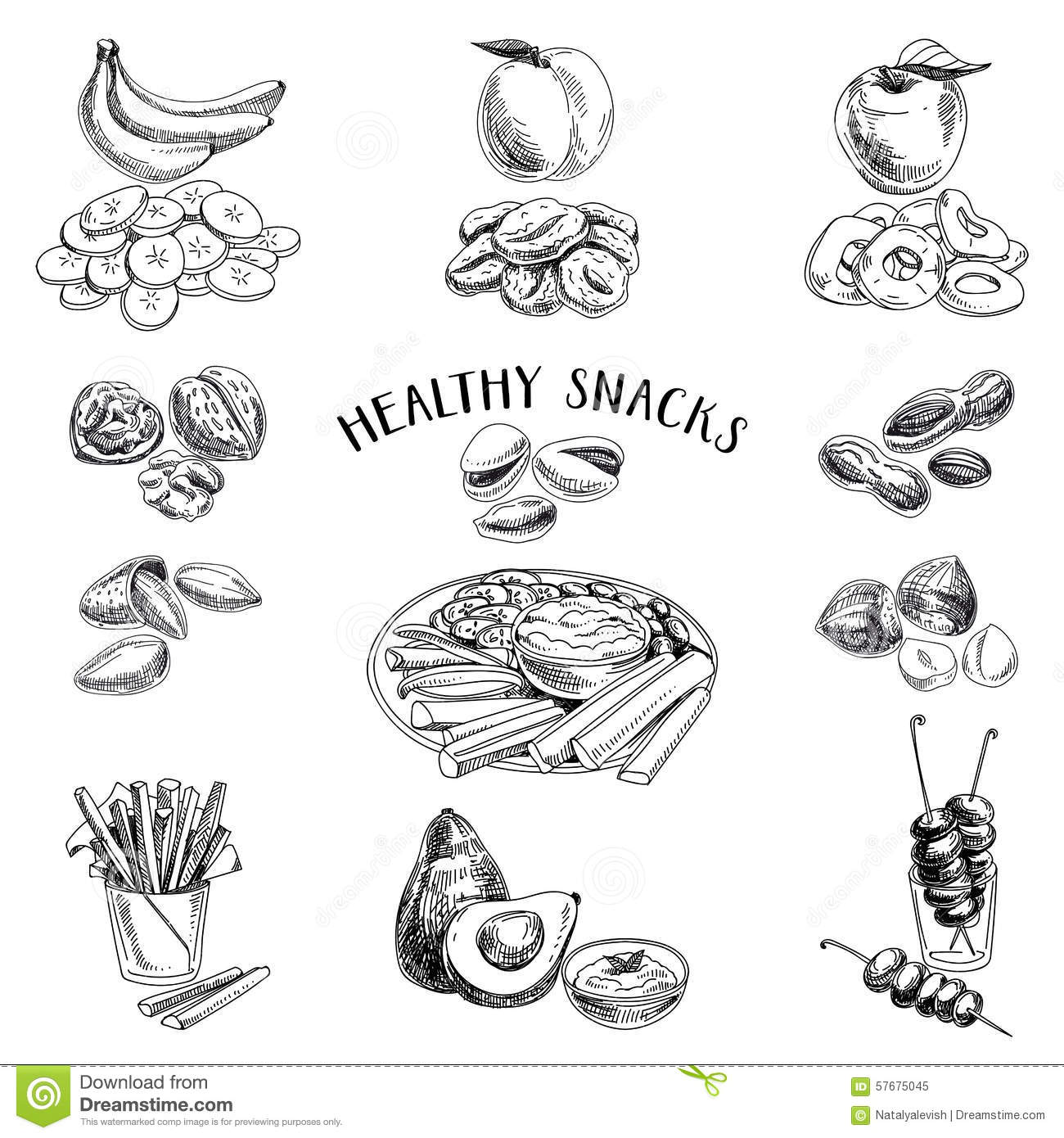 Healthy Food. Vector Illustration In Sketch Style Stock Vector - Image 57675045
