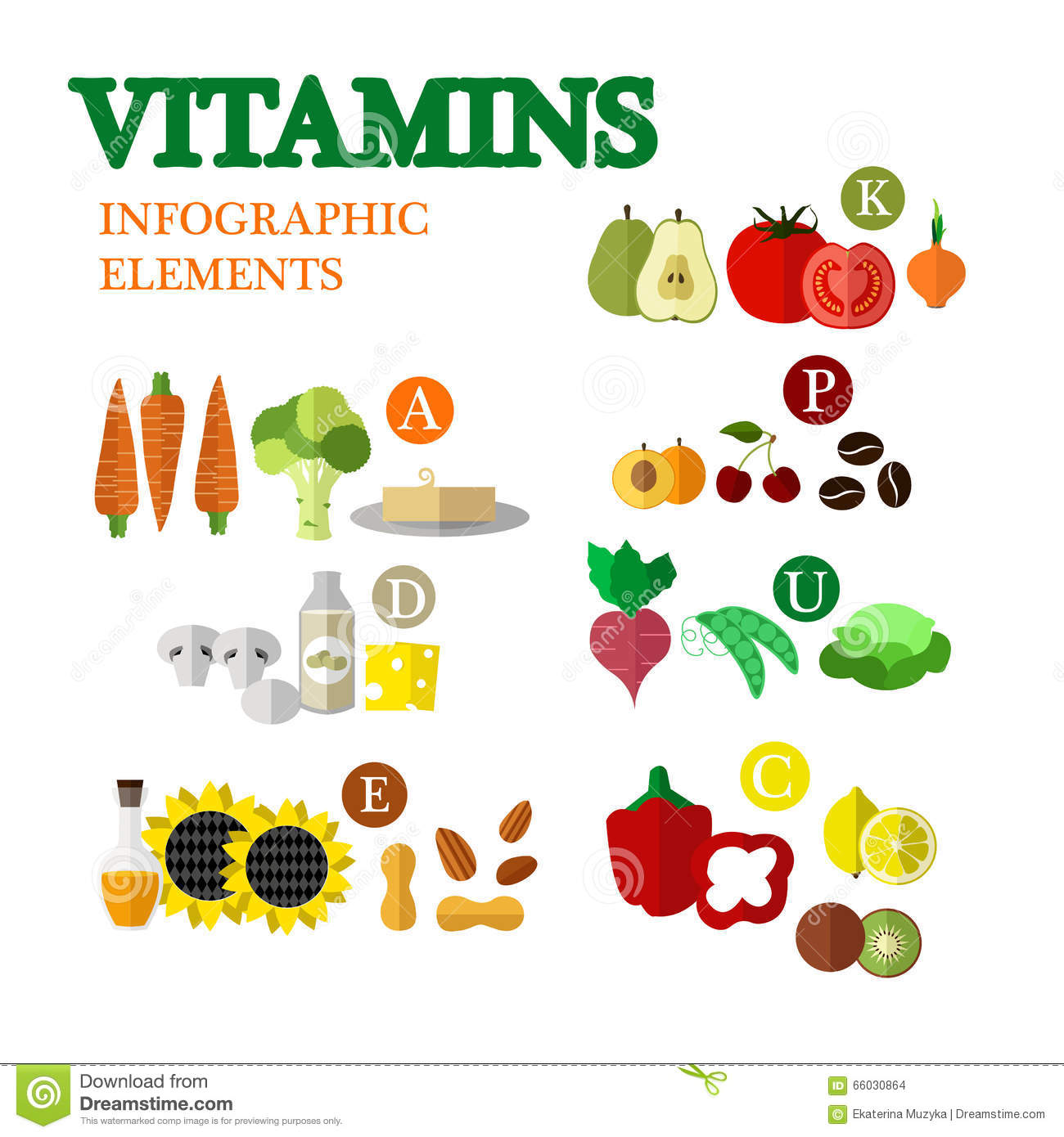 Healthy Food With Vitamins Concept Vector Illustration In