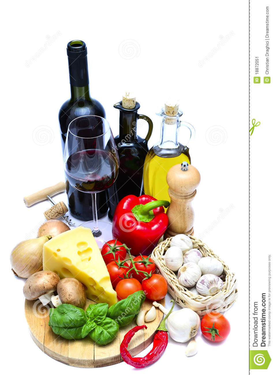 Healthy food and wine