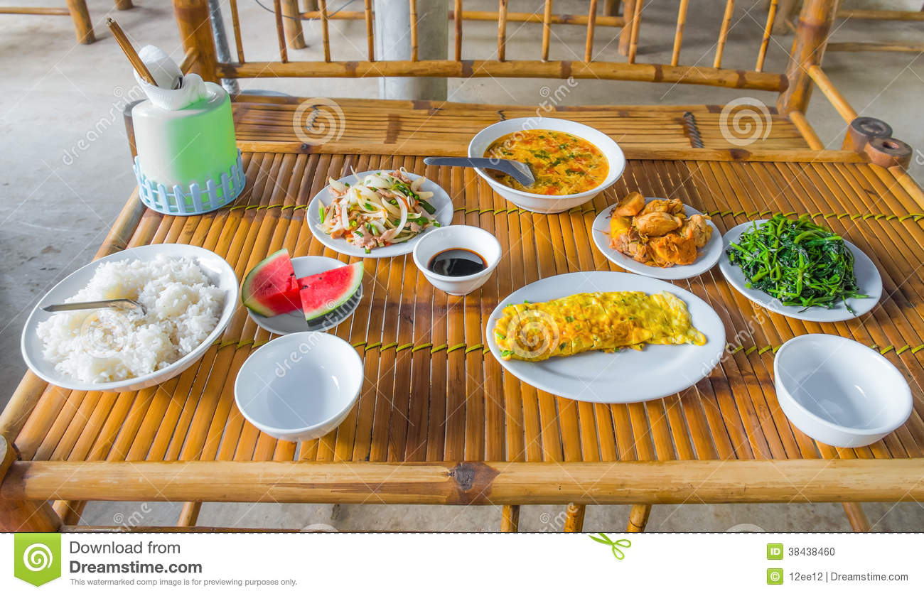 Wooden Food Table ~ Healthy food on wooden table stock photo image
