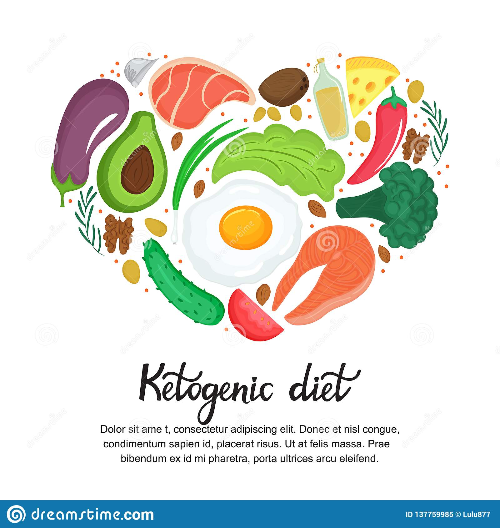 Healthy foods: vegetables, nuts, meat, fish. Heart shaped banner in cartoon style. Keto diet. Ketogenic nutrition