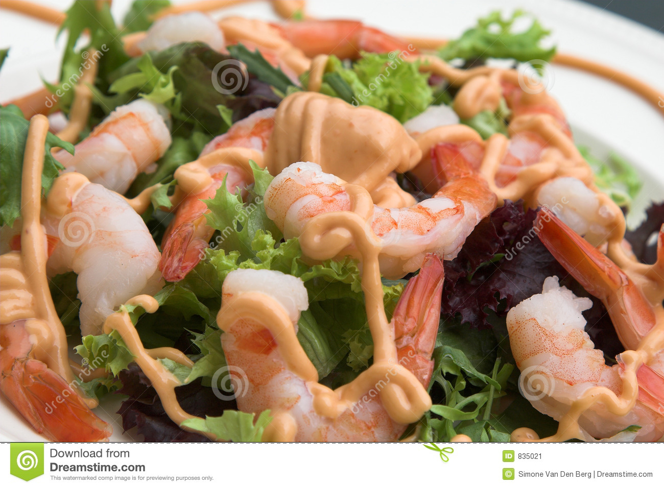 Healthy fresh shrimp salad with a little cocktailsauce.