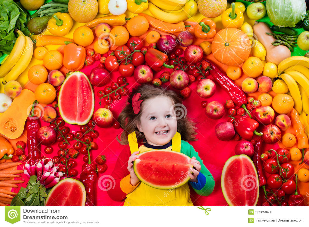 healthy fruit and vegetable nutrition for kids stock photo image