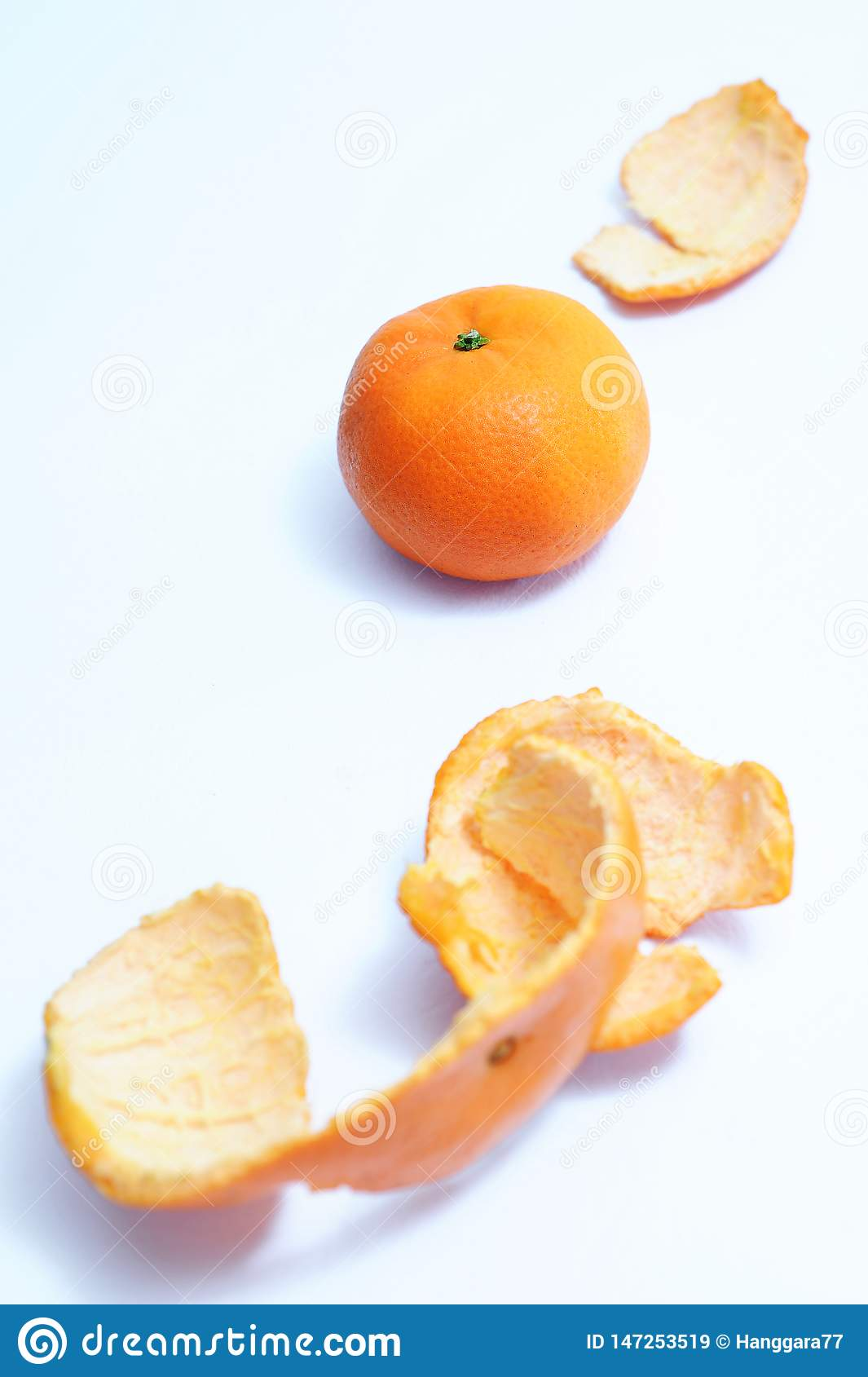 Healthy fruits, orange fruits, orange peeles skin as foreground from top view