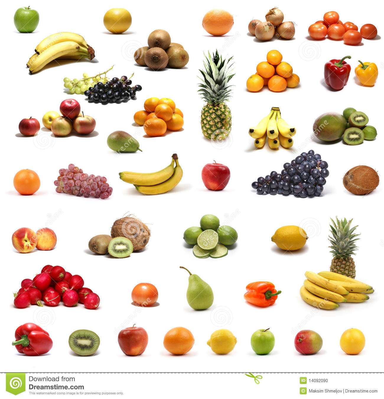 Healthy Fruits And Vegetables Isolated On White Stock Photo - Image ...