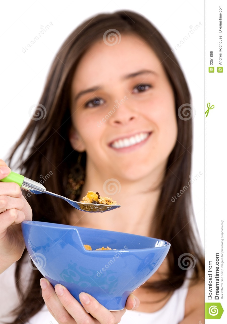 Girl Eating Cereal Clipart Healthy girl eating cereal