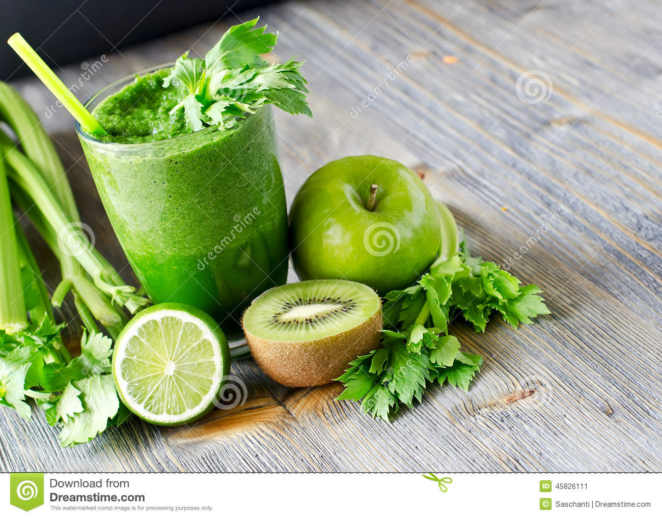 Healthy Green Smoothie Beverage With Spinach And Celery Stock