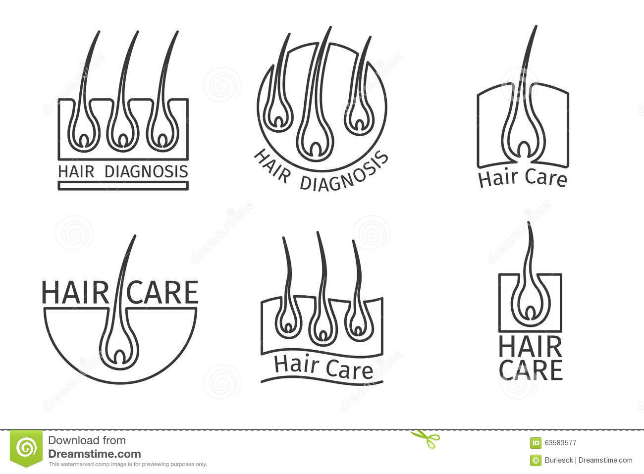 Healthy Hair Logos. Epilation And Extensions Stock Vector ...