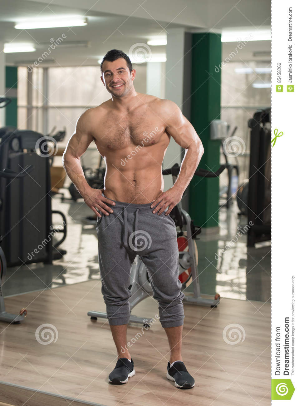 Healthy Hairy Man With Six Pack Stock Photo Image 85458266
