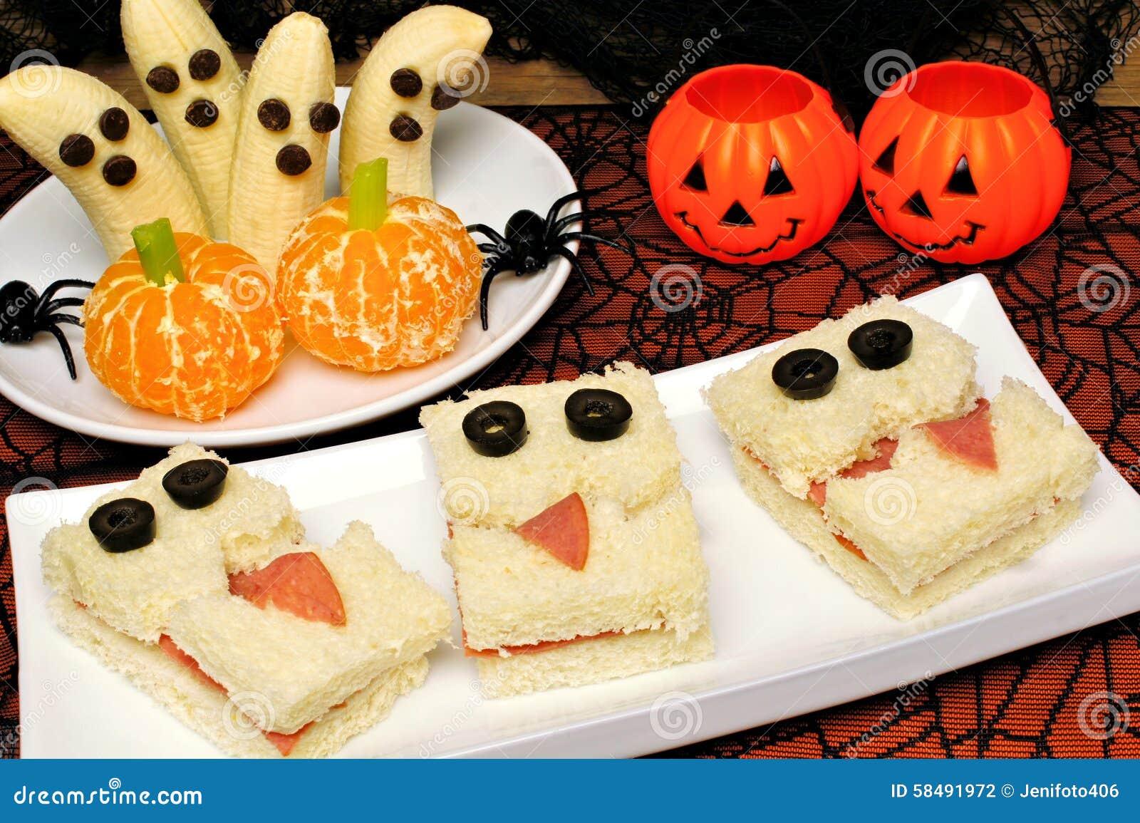 Healthy halloween monster sandwiches banana ghosts and orange pumpkins stock photo image - Idee menu halloween ...