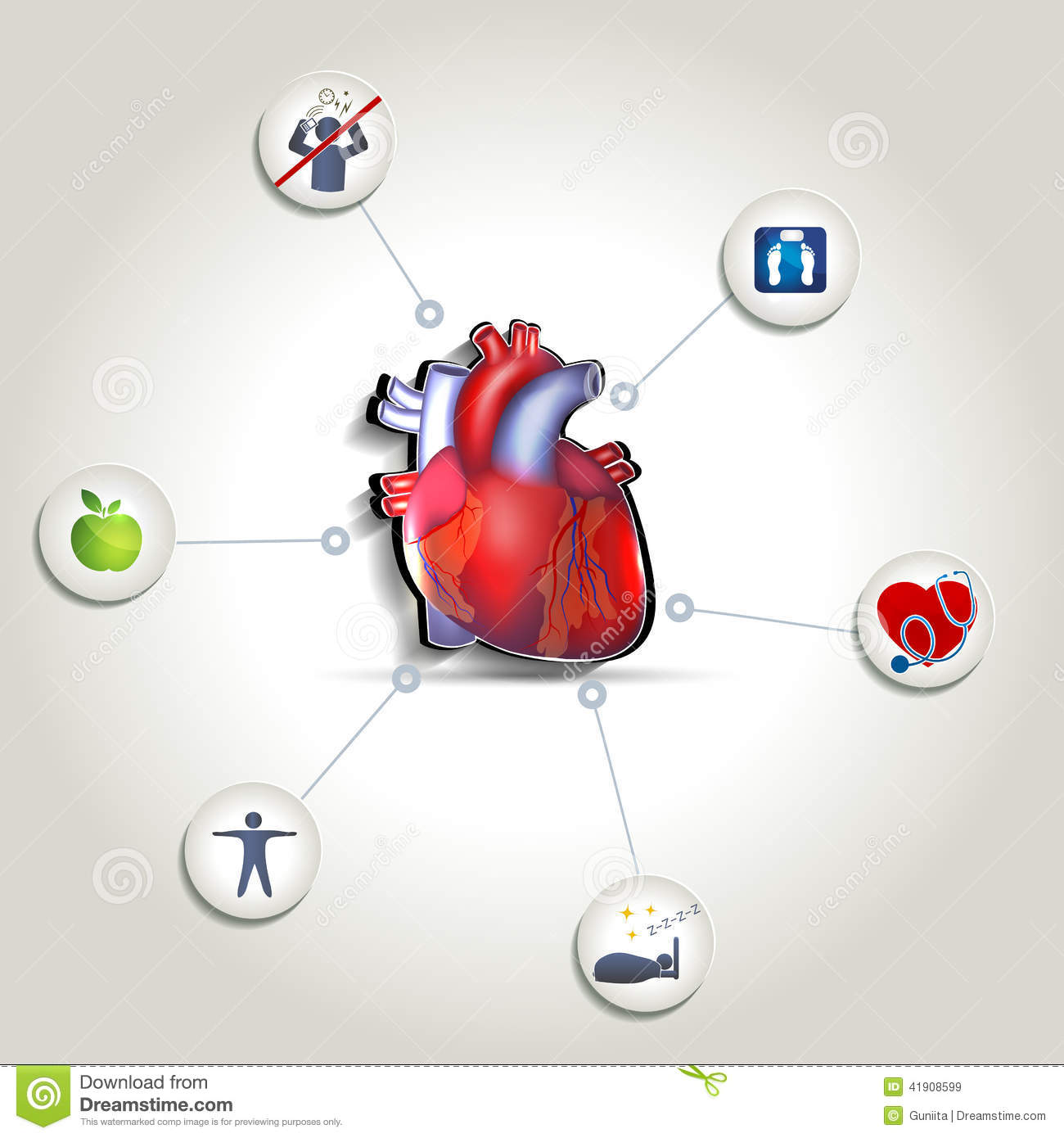 Healthy Heart Tips Food Fitness No Stress Good Sleep Weight Leads To Rhythm Illustrations Royalty Free