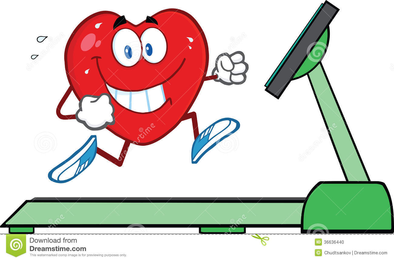 Healthy Heart Running On A Treadmill. Illustration Isolated on white.