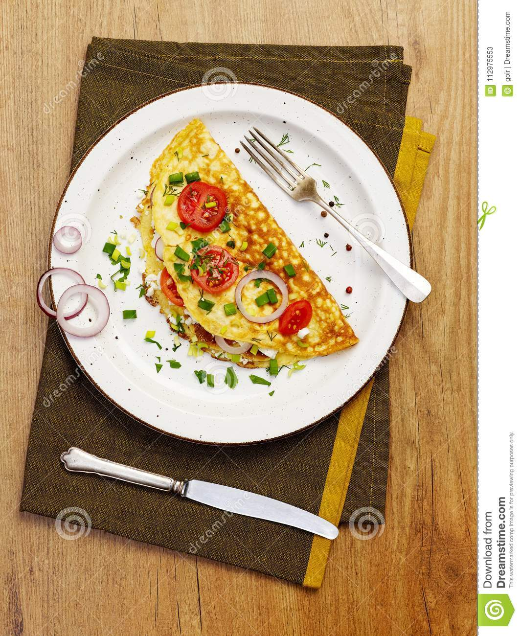 Rustic omelette from above