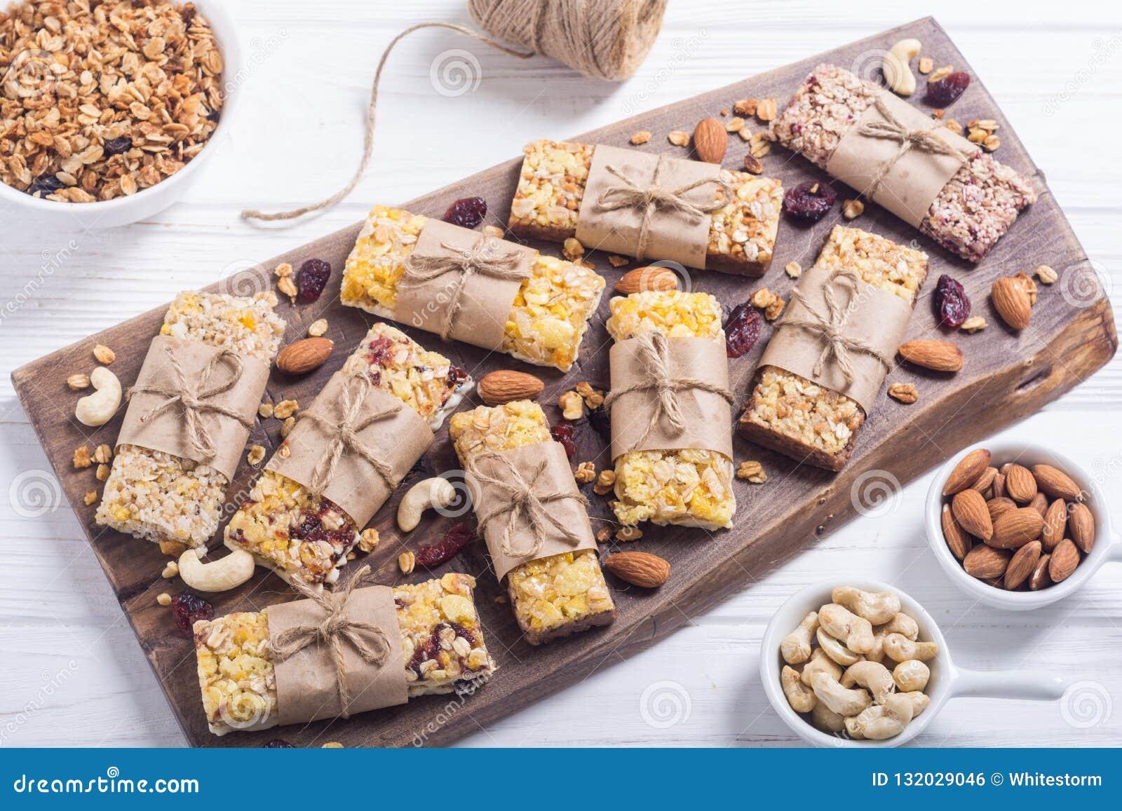 Healthy Homemade Snacks Breakfast   Granola Bars Stock Photo