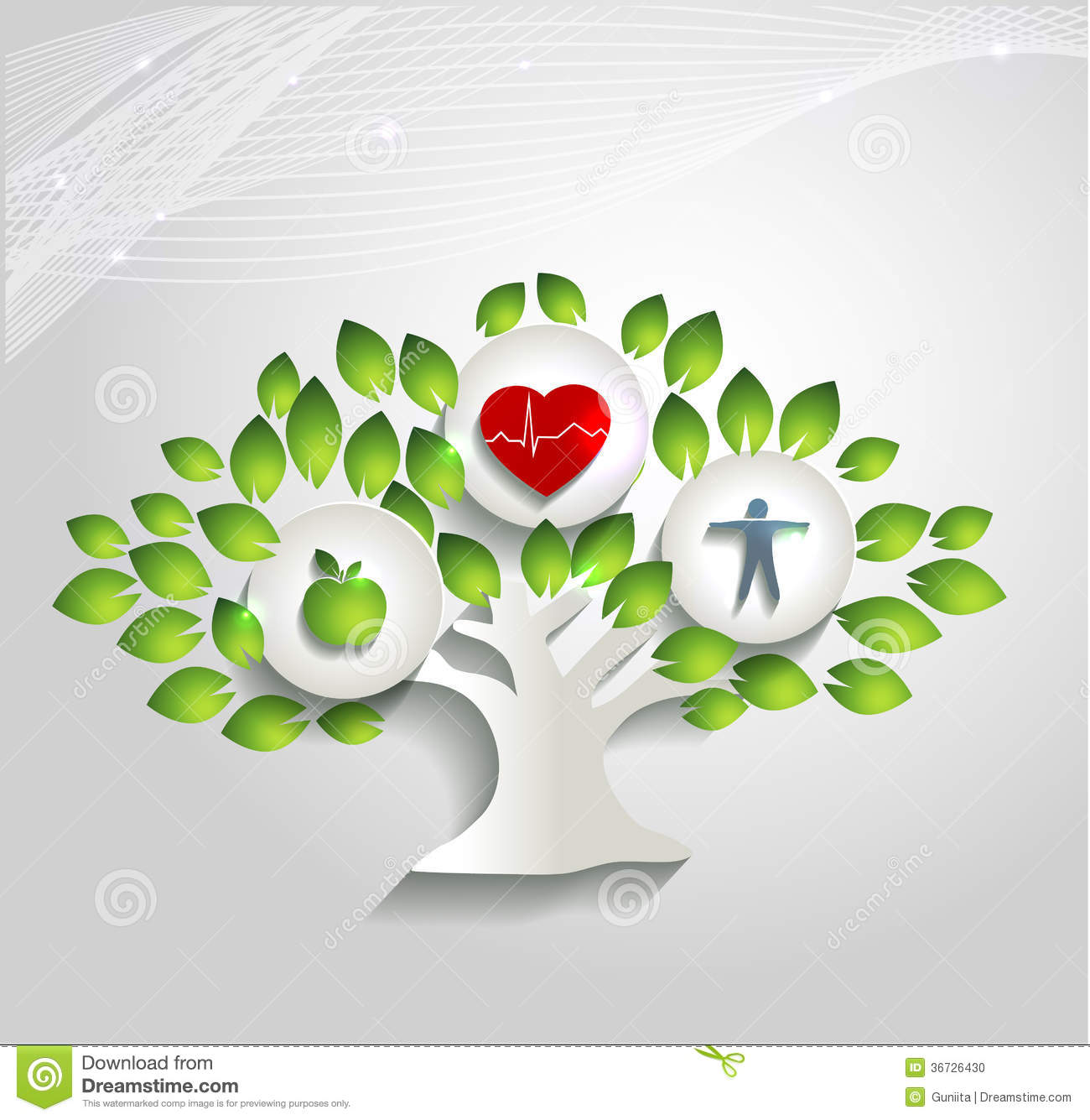 Healthy Human Concept Tree And Health Care Symbol Stock