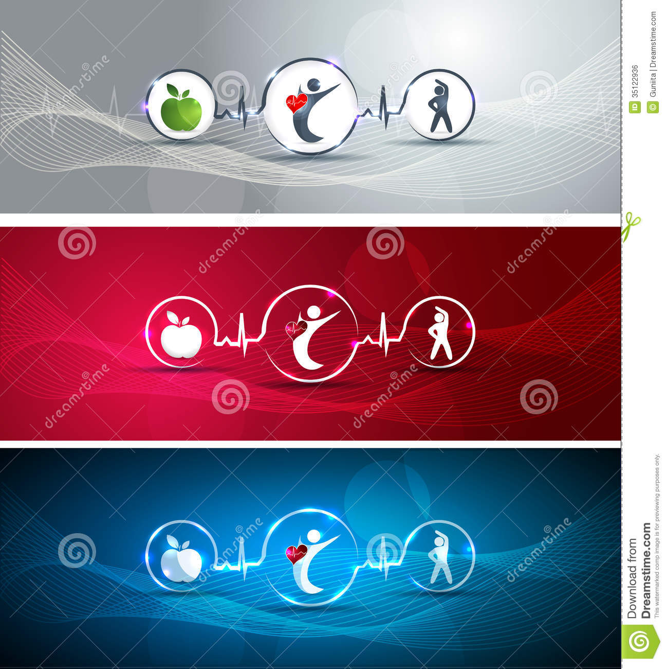 healthy human and heart banners royalty free stock image