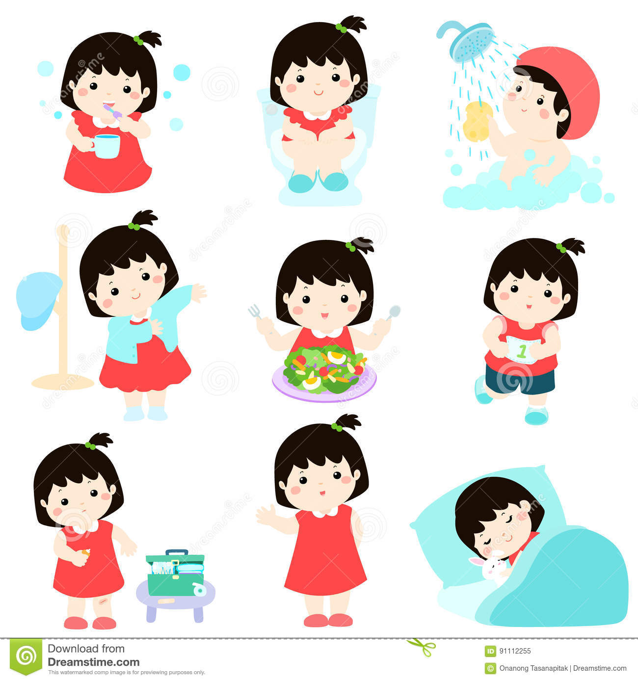 Healthy Hygiene For Girl Cartoon Stock Vector -4139