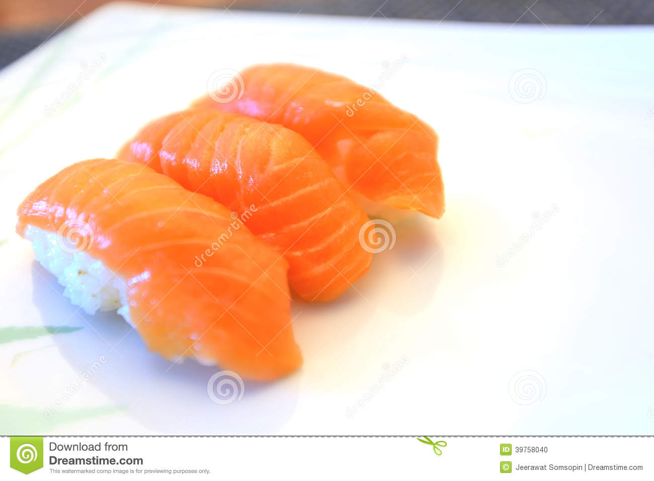 Healthy japanese nigiri sushi with rice and fish stock for Where to buy fish for sushi