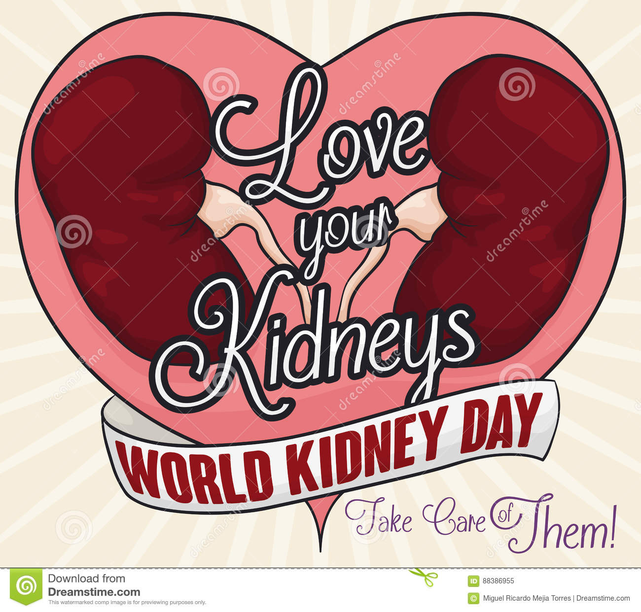 Healthy Kidneys and Greeting Message of Love and Renal Care, Vector Illustration