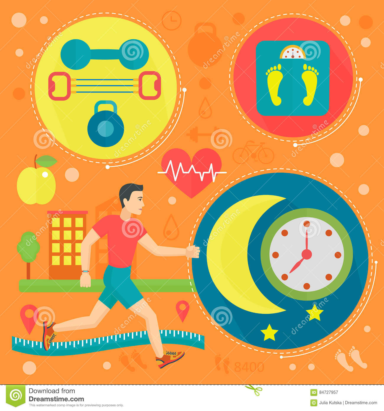 Poster design health - Healthy Life Flat Concept Vector Illustration Sport Fitness Gym And Healthy Food Icos Design