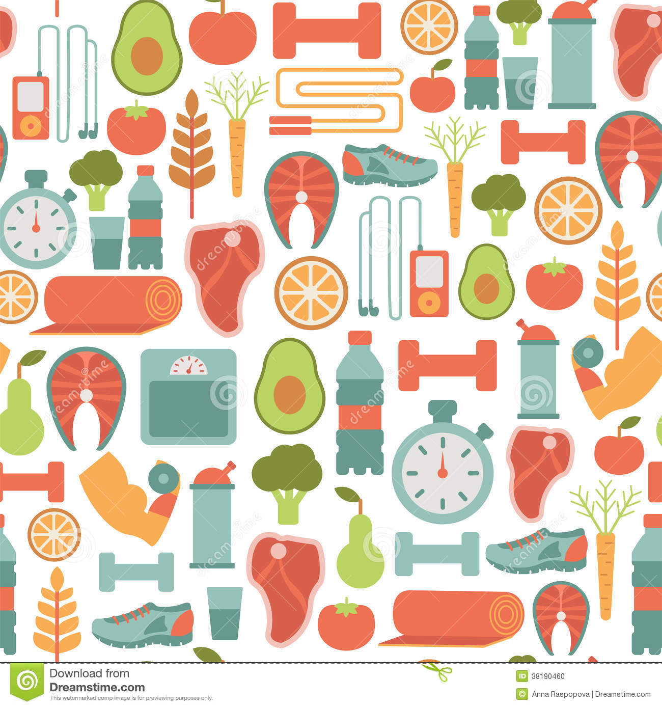 Healthy Life Pattern Stock Photo Image 38190460