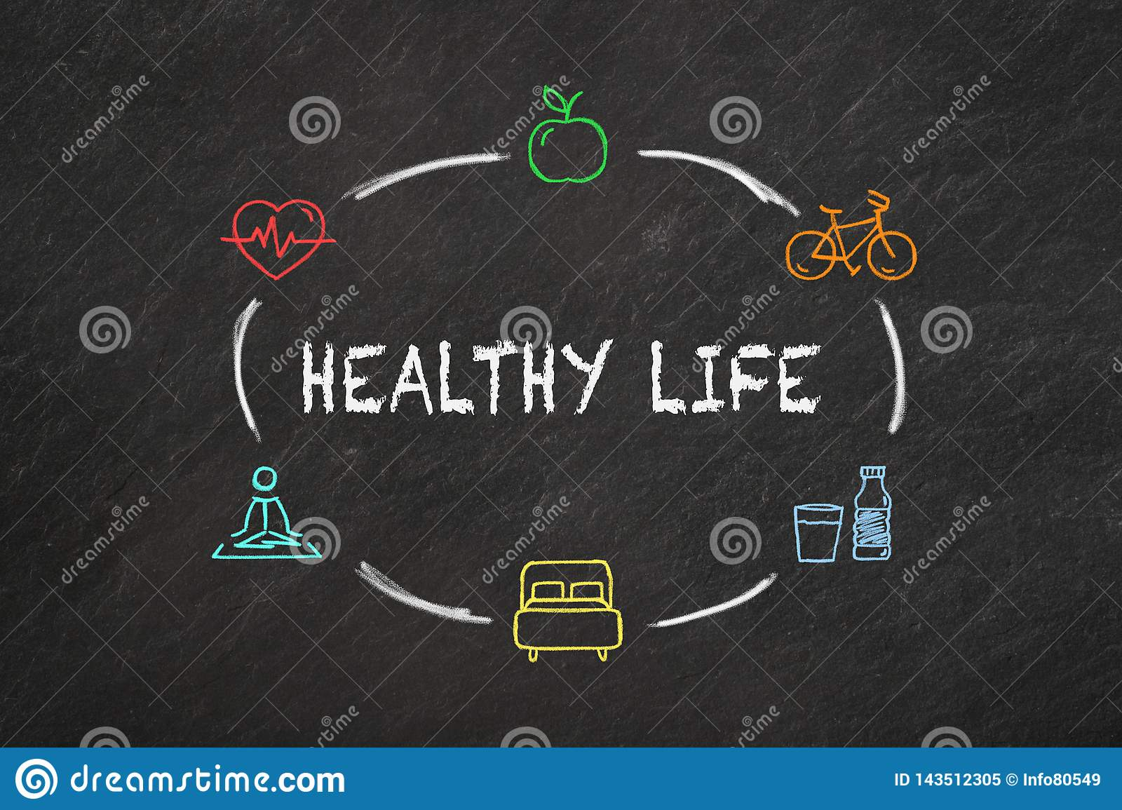 `Healthy life` text and colourful icons on a blackboard.