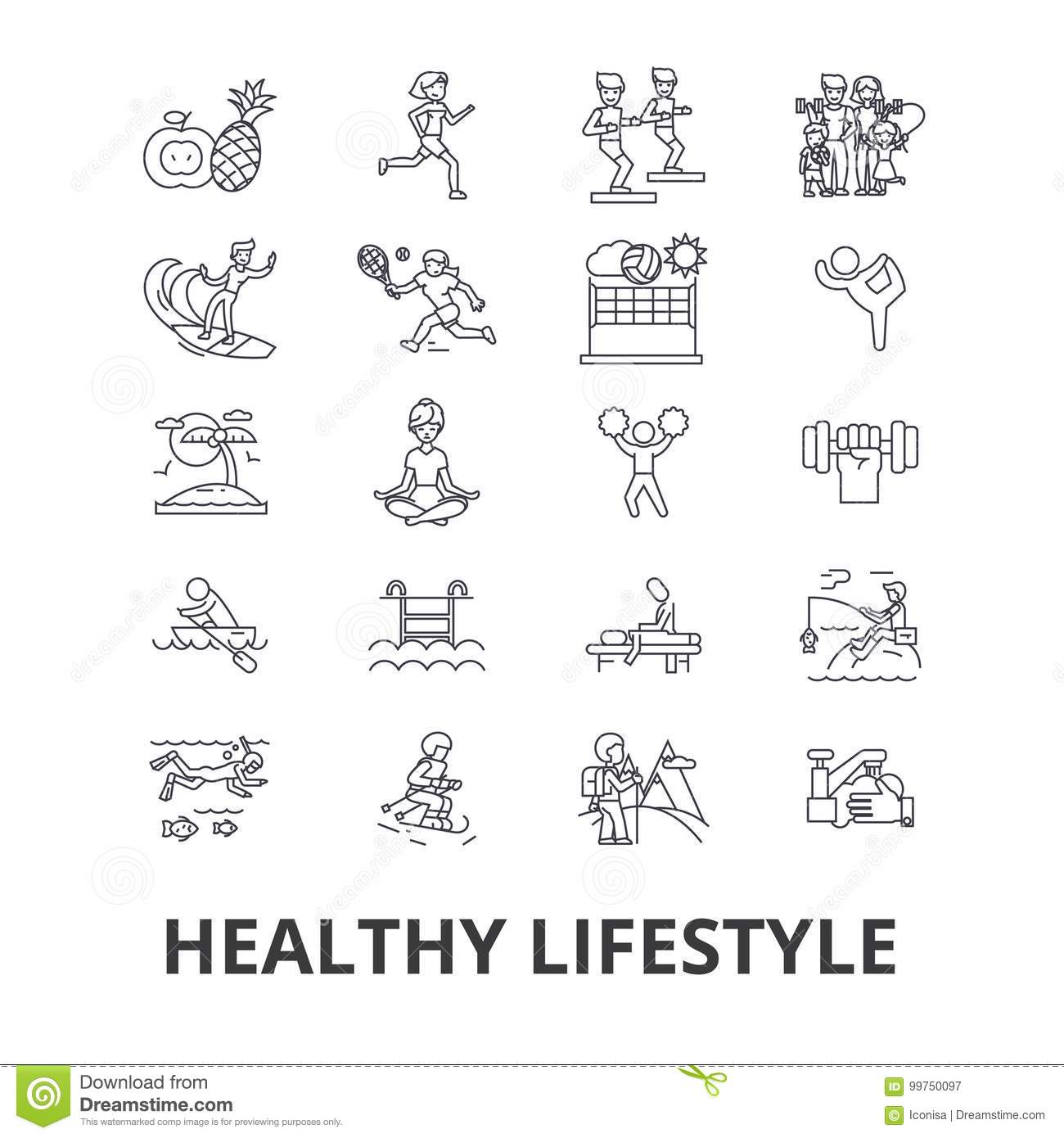 Healthy lifestyle, active living, natural food, healthcare, wellness, exercise line icons. Editable strokes. Flat design