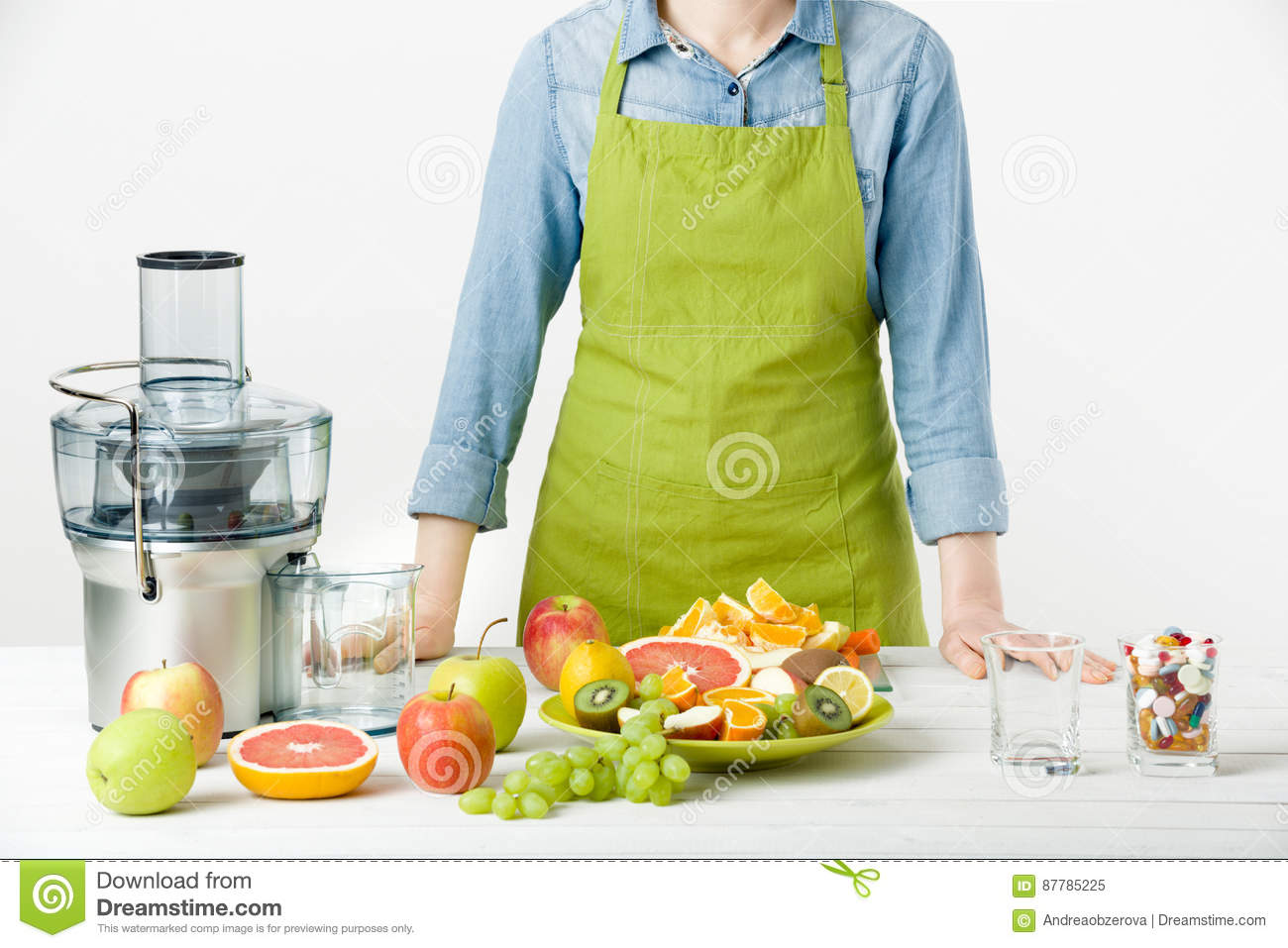 Healthy Lifestyle And Diet Concept. Fruit Juice, Pills And ...