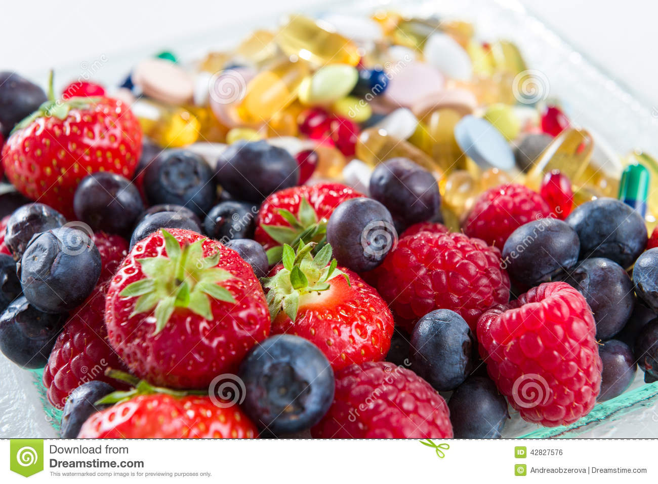 Healthy lifestyle, diet concept, Fruit and vitamin supplements with on white background