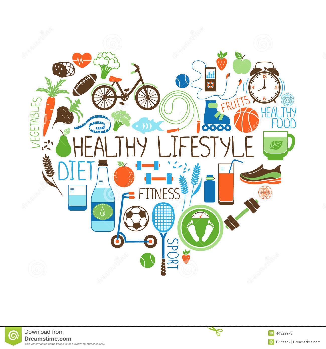 Healthy Lifestyle Diet And Fitness Heart Sign Stock Vector Image with regard to Healthy Diet And Lifestyle
