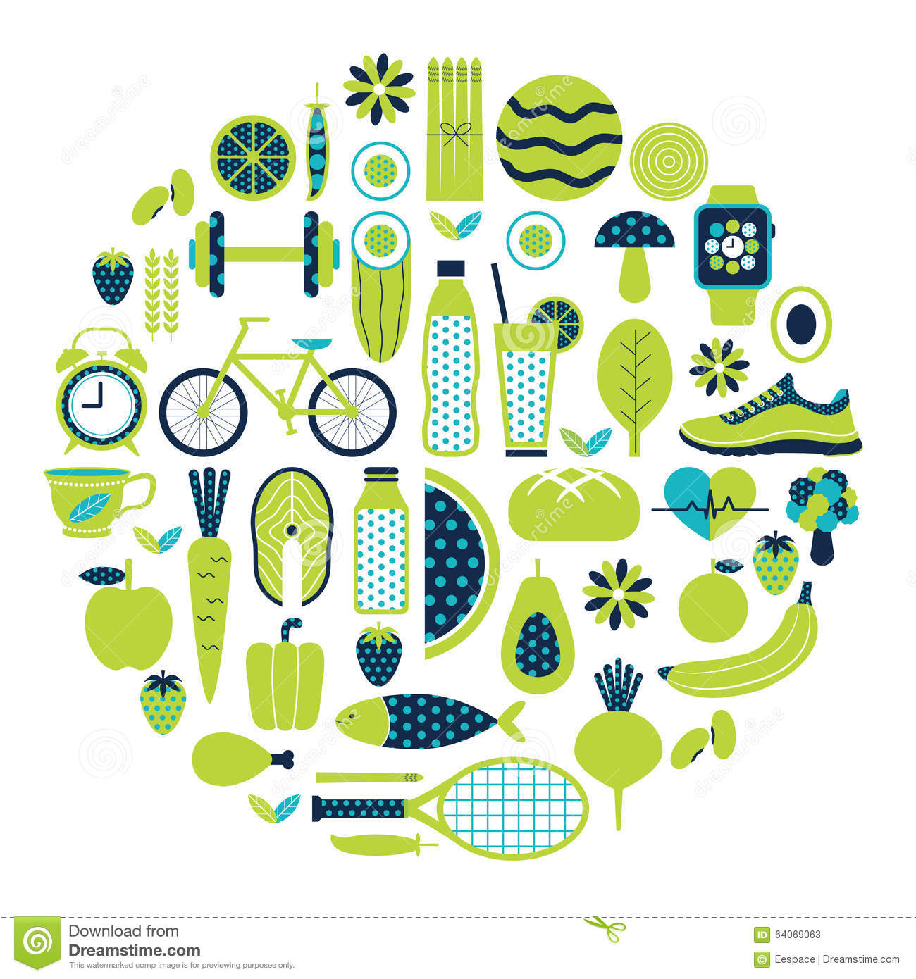 Healthy lifestyle icon set in green colour stock vector for Lift style