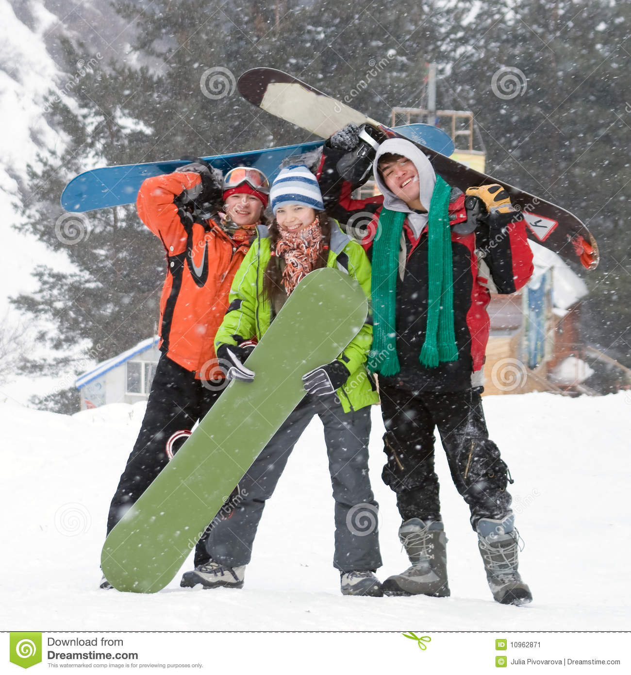 Healthy lifestyle image of snowboarders team