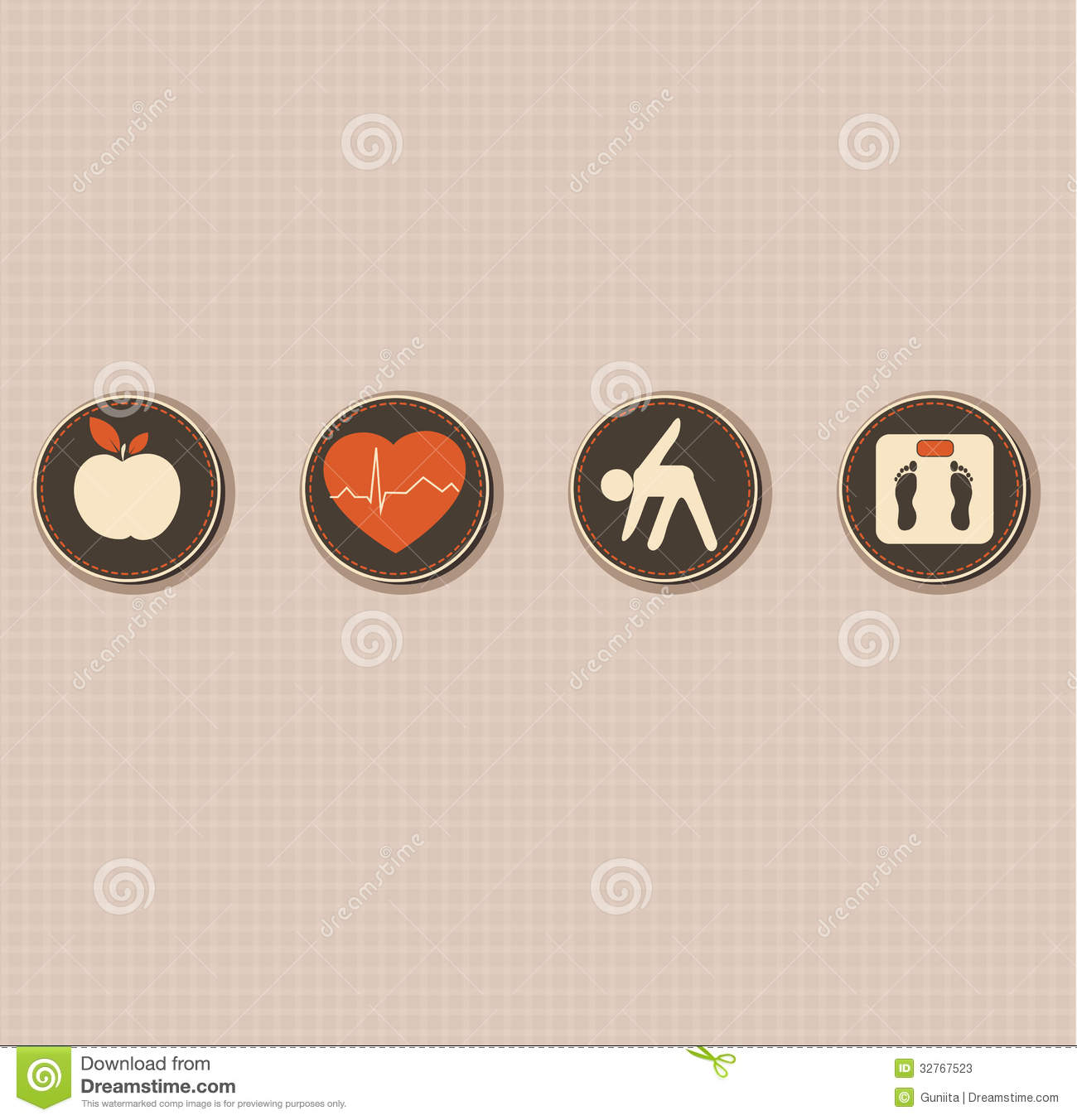Lifestyle: Healthy Lifestyle Symbols Stock Vector. Illustration Of