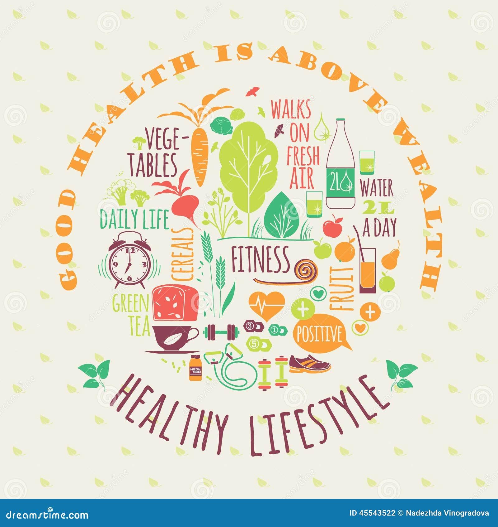 Healthy Lifestyle Vector Illustration Stock Vector Illustration
