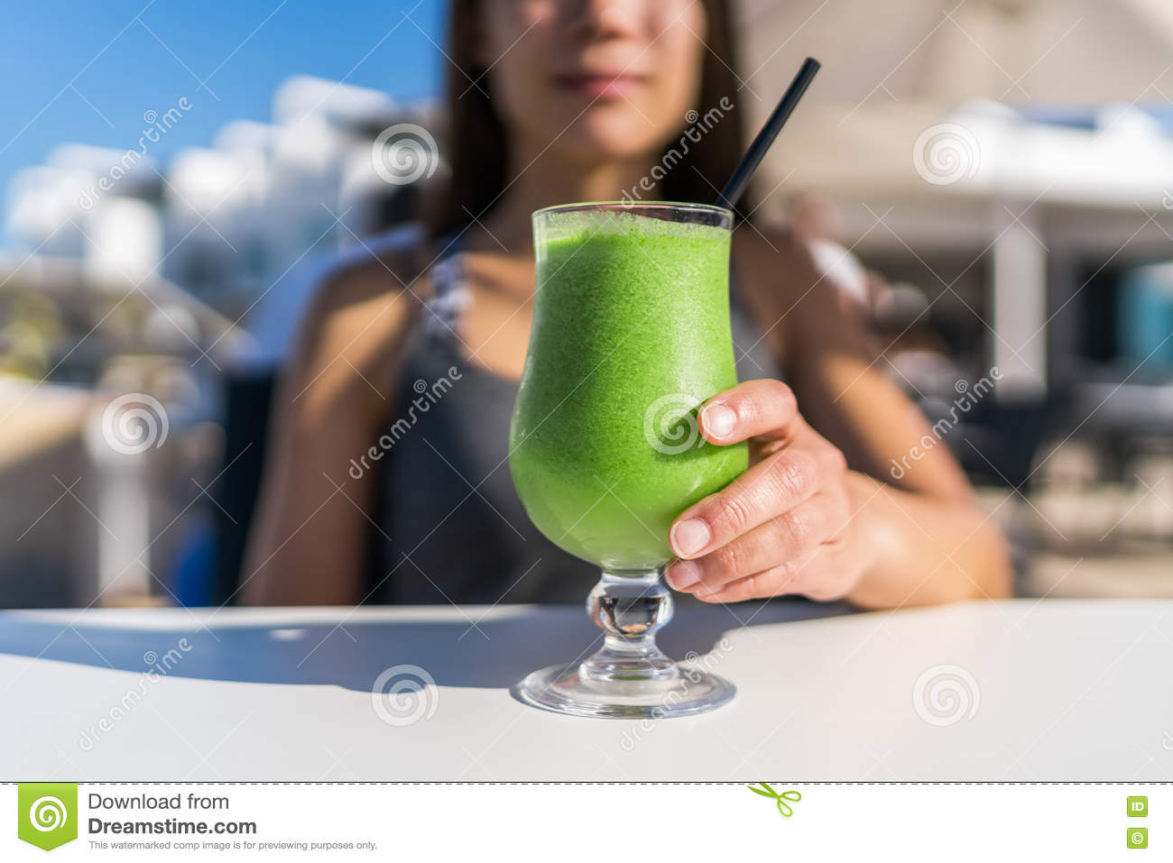 Healthy Lifestyle Woman Drinking Cafe Green Juice Stock