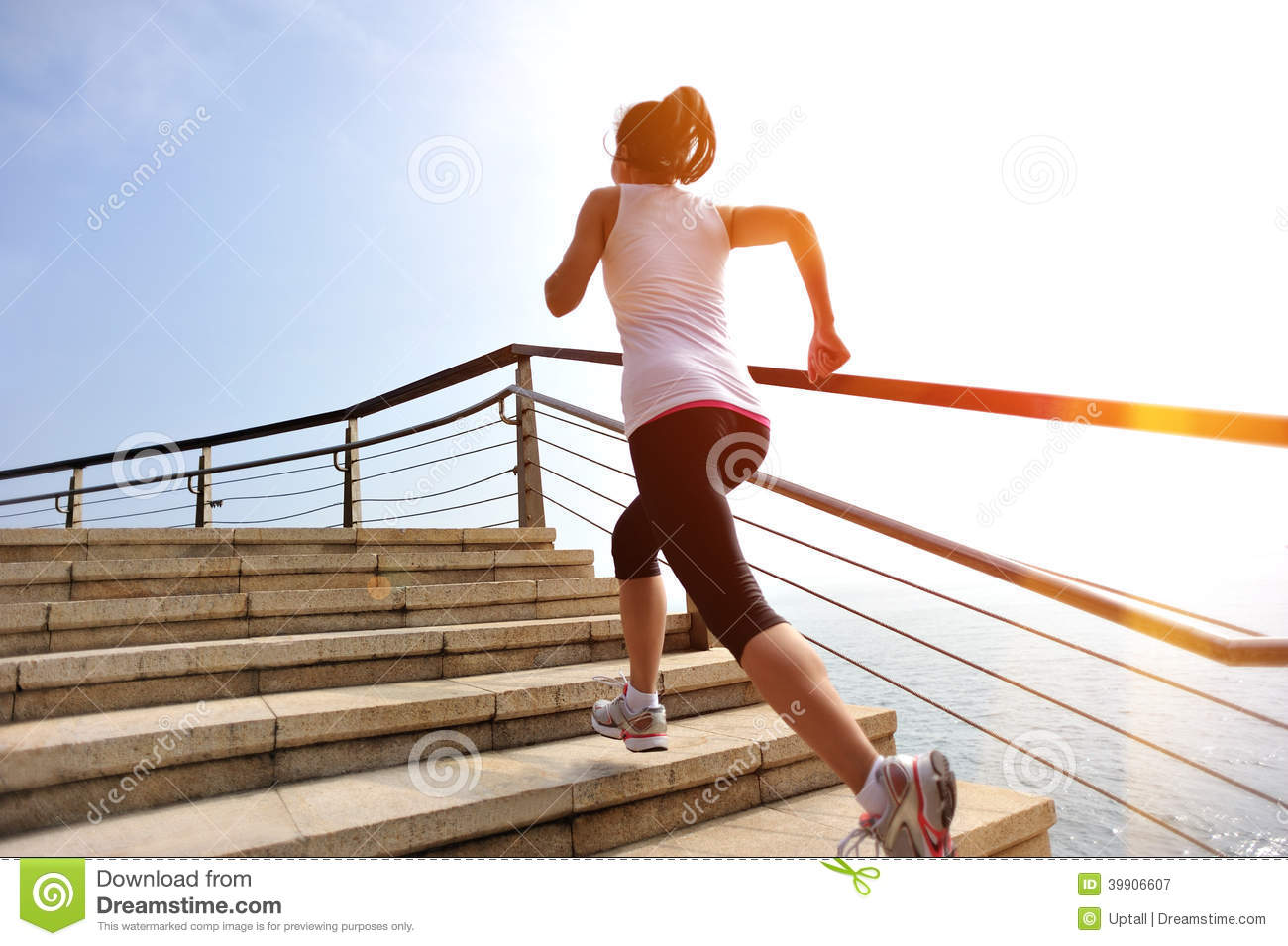 Download Healthy Lifestyle Woman Legs Running On Stone Stai Stock Image - Image of female, heaven: 39906607