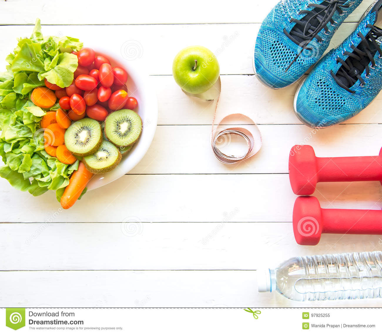 Download Healthy Lifestyle For Women Diet With Sport Equipment, Sneakers, Measuring Tape, Vegetable Fresh, Green Apples And Bottle Of Water Stock Image - Image of kivi, background: 97925255