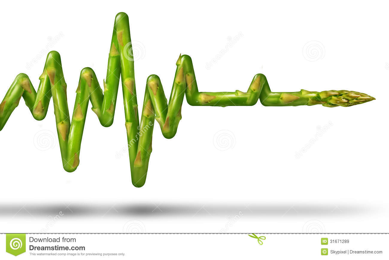 concept with an asparagus vegetable in the shape of an ECG or EKG ...