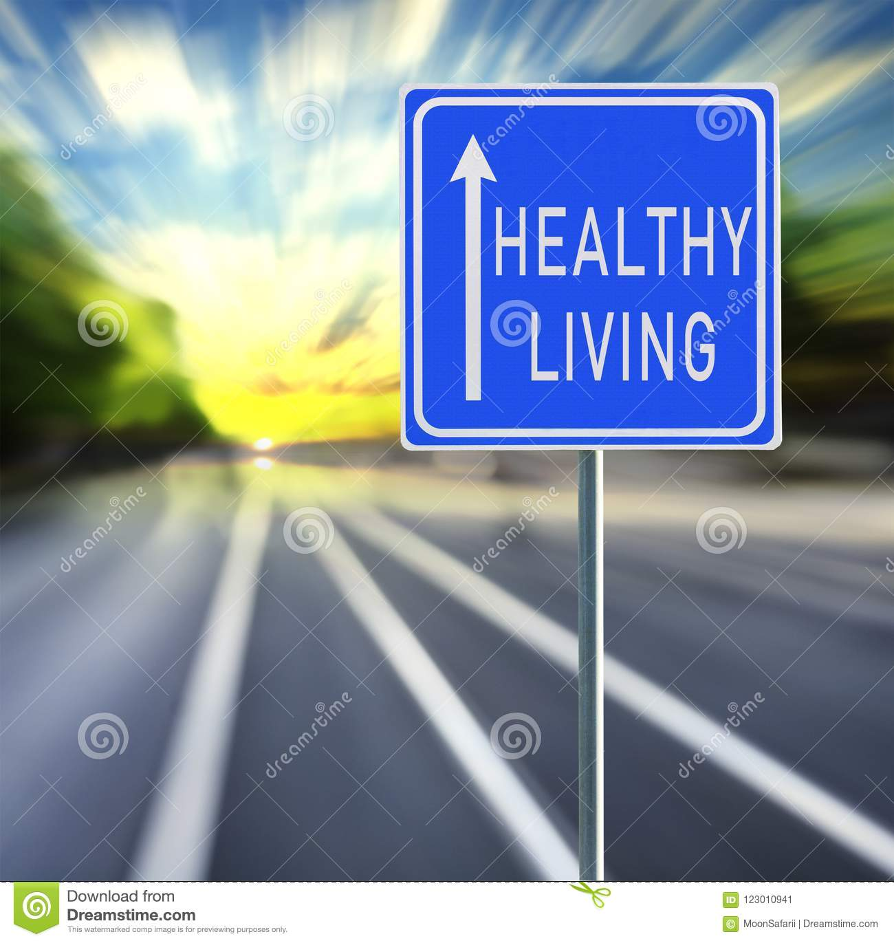 Healthy Living Road Sign on a Speedy Background with Sunset.