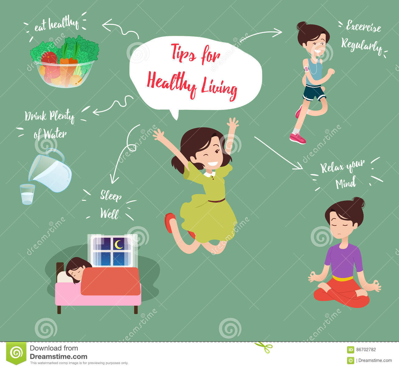 Healthy Living Tips stock vector  Illustration of food