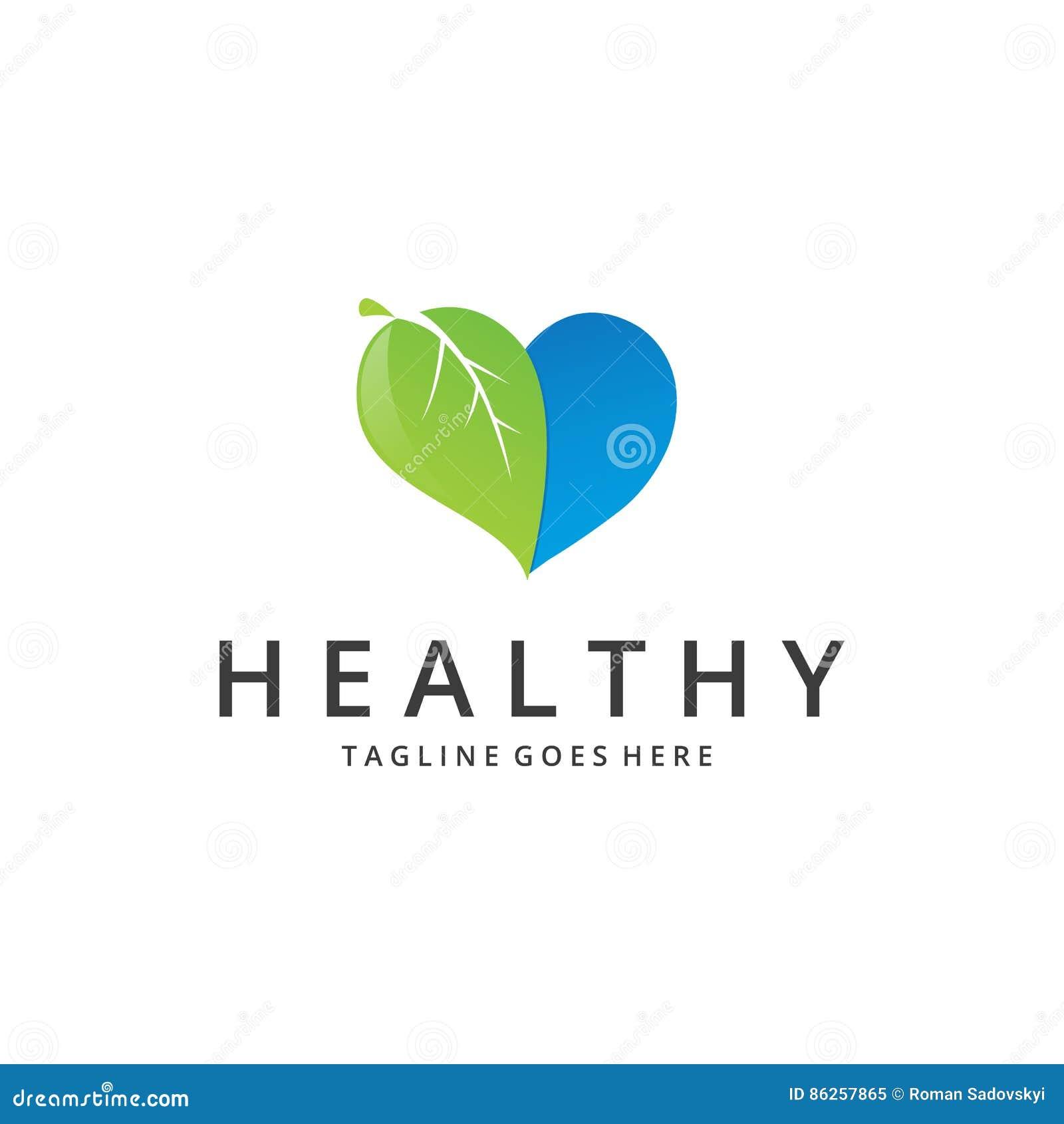 Healthy Logo Heart Stock Vector