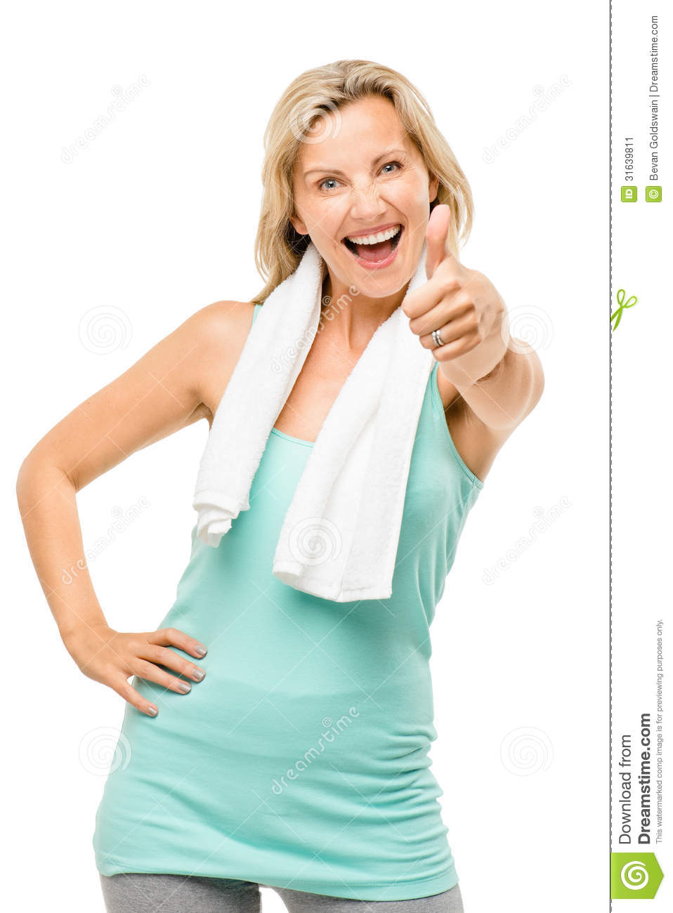 healthy mature woman exercise thumbs up isolated on white backgr