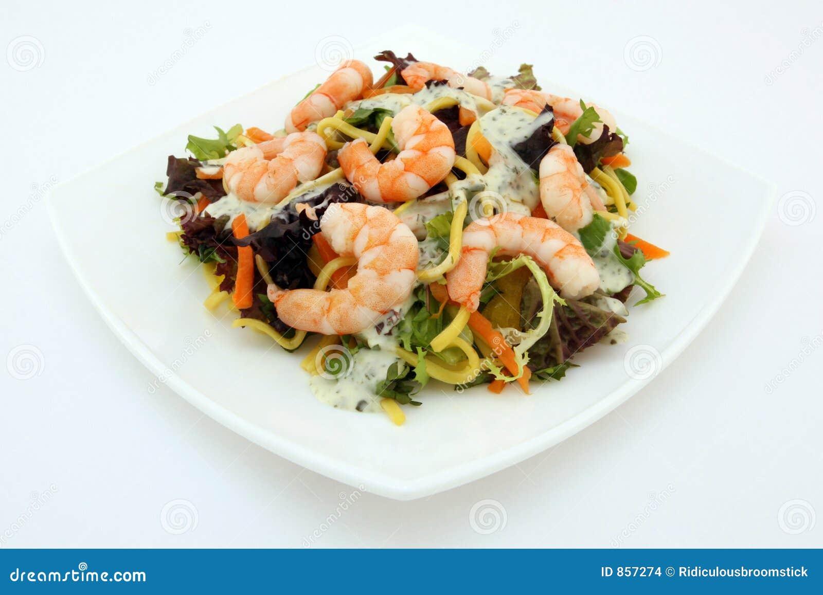 Healthy noodle and prawn diet salad starter